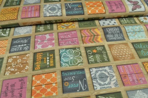 Baumwollstoff beschichtet, Mosaik, beige
