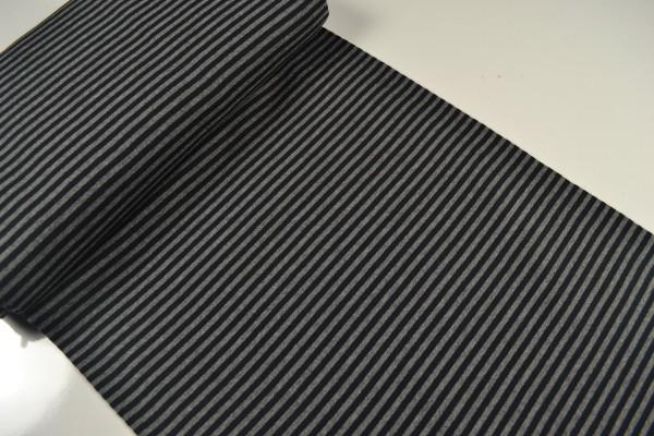 Bündchenstoff glatt, streifen schwarz/grau