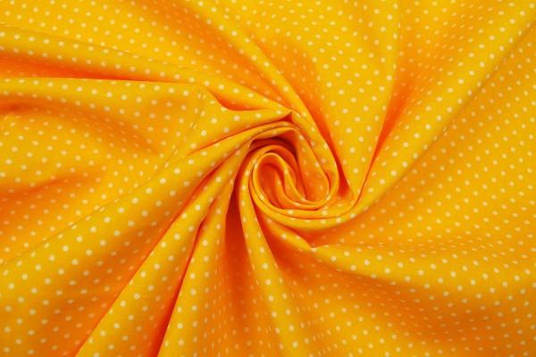 Baumwollstoff kleine Tupfen, gelb