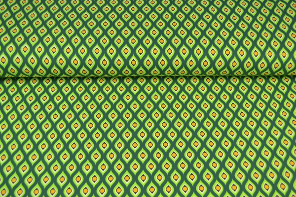 Baumwolljersey bedruckt Tropfen, grün