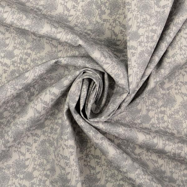 Baumwollstoff Popeline Flowermix, grau