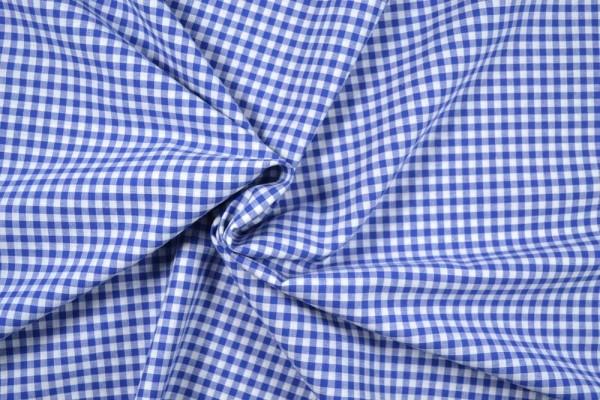 Baumwollstoff Zefir Vichy Karo, 0,5 cm, blau