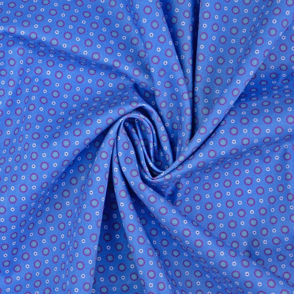 Baumwollstoff Popeline Sonne, blau