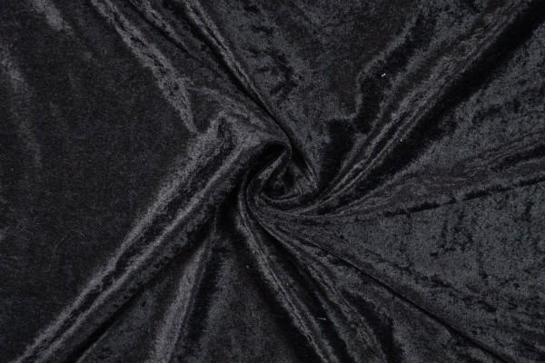 Panne Samt uni, schwarz