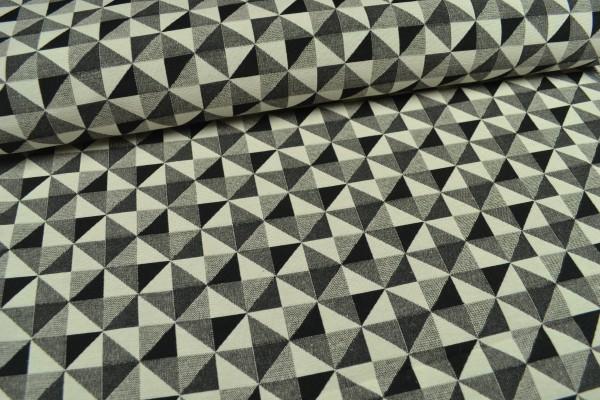 Gobelin Möbelstoff, große Dreiecke,grau