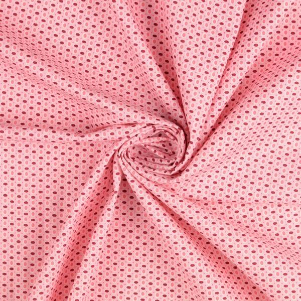 Baumwollstoff gemustert, Punkte & Tupfen, pink/ rot