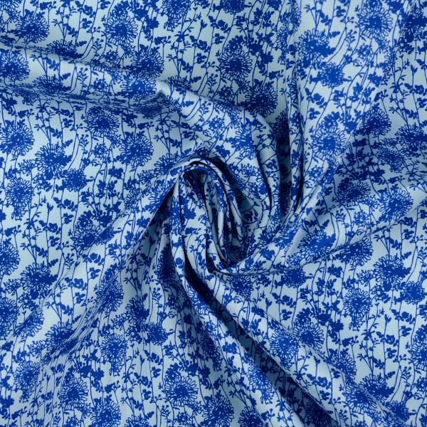 Baumwollstoff Popeline Flowermix, blau