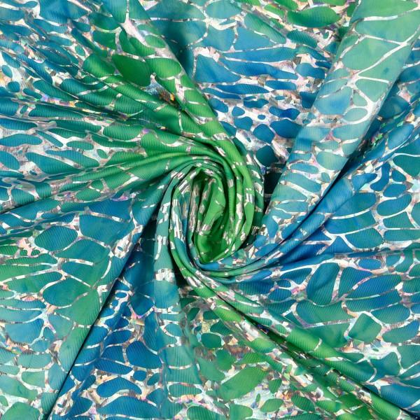 Folienjersey Druck Batik-Style, blau/grün