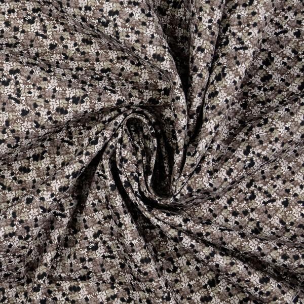 Baumwollstoff Popeline Blumen, grau