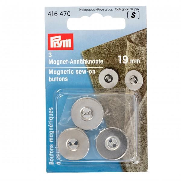 Prym Magnet-Annähknöpfe, 19 mm, silberfarbig