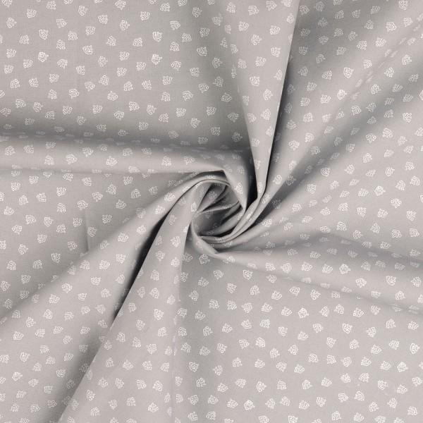 Baumwollstoff gemustert, Anker klein, grau/ Weiß