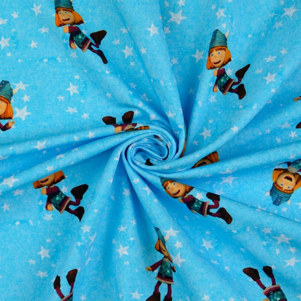 Baumwolljersey Wickie und die starken Männer, blau