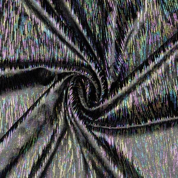 Elastic Folienjersey bunte Fäden, schwarz