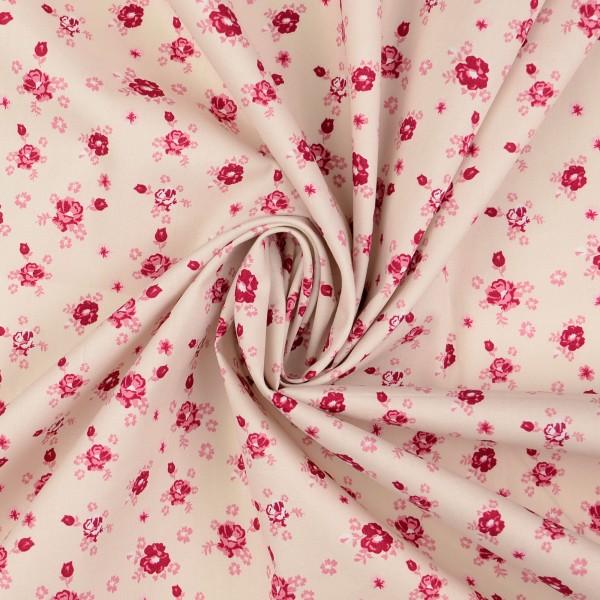 Baumwollstoff Popeline Rosen, rosa