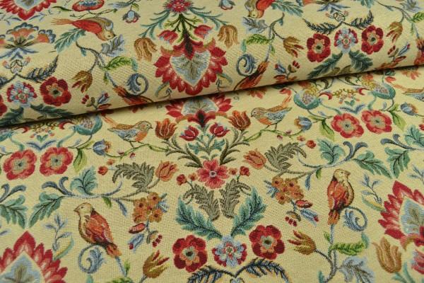 Gobelin Möbelstoff, mit Blumen und Vögeln