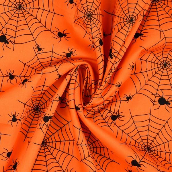 Baumwollstoff Popeline Spinnennetz, orange