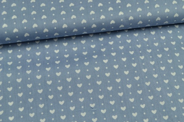 Baumwolle gemustert, Herzen hellblau
