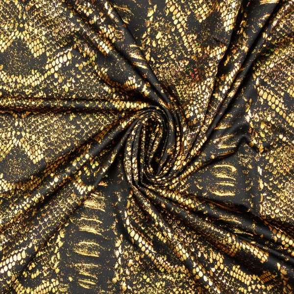 Elastic Folienjersey Pailletten-Schlangenmuster, gold