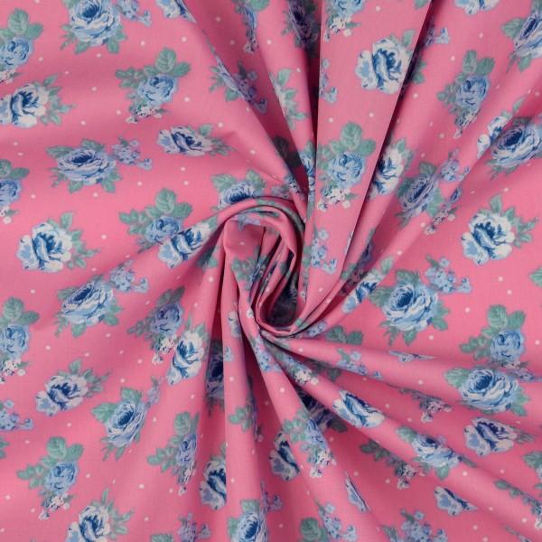 Baumwollstoff Popeline Magique Fleur, rosa
