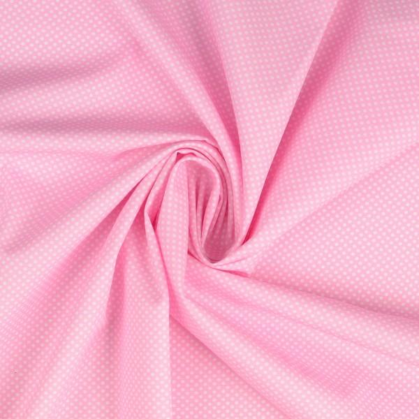 Baumwollstoff gemustert, Tupfen rosa/ weiß