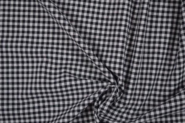 Baumwollstoff Zefir Vichy Karo, 0,5 cm, schwarz
