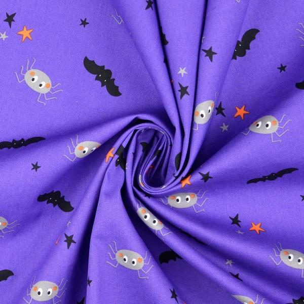 Baumwollstoff Popeline Halloweenmix, lila