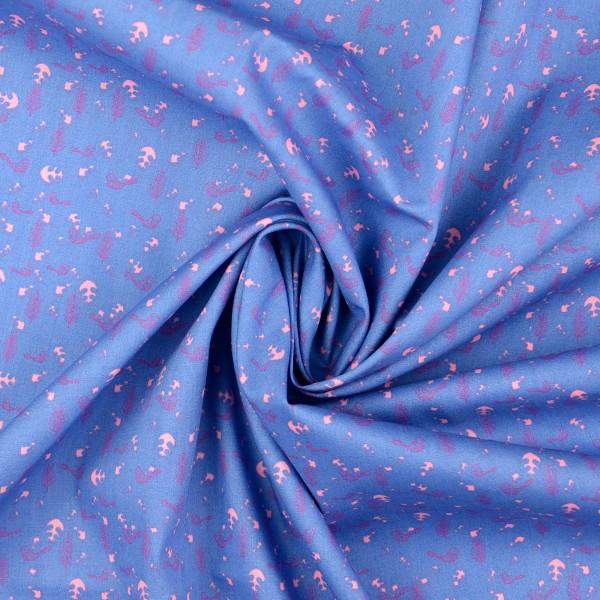 Baumwollstoff Popeline Frühling, blau