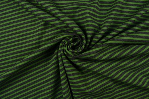 Baumwolljersey gestreift, grün/ dunkelgrau meliert